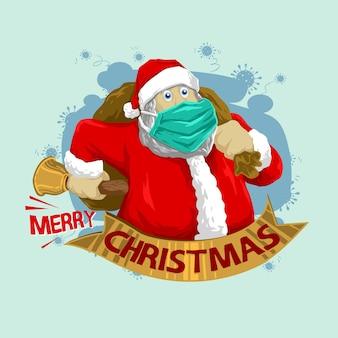 Der weihnachtsmann trägt einen maskierer in der abbildung des pandemievirus
