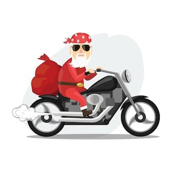 Der weihnachtsmann trägt einen sack voller geschenke auf einem coolen motorrad