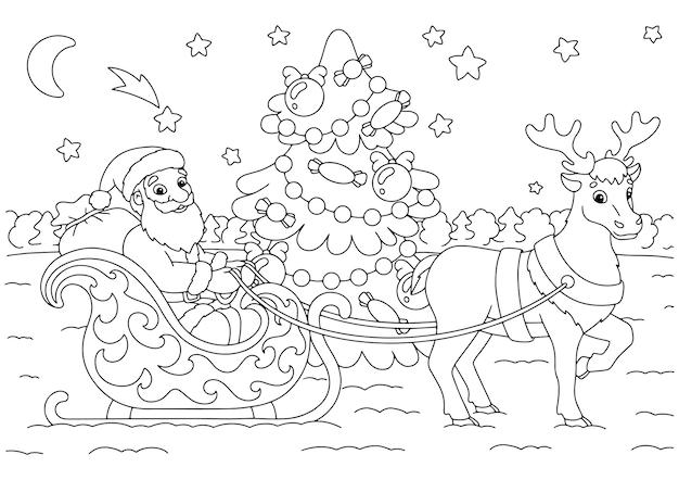 Der weihnachtsmann trägt weihnachtsgeschenke auf einem rentierschlitten malbuchseite für kinder