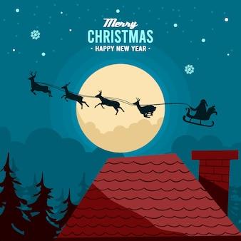 Der weihnachtsmann überquert das dach des hauses