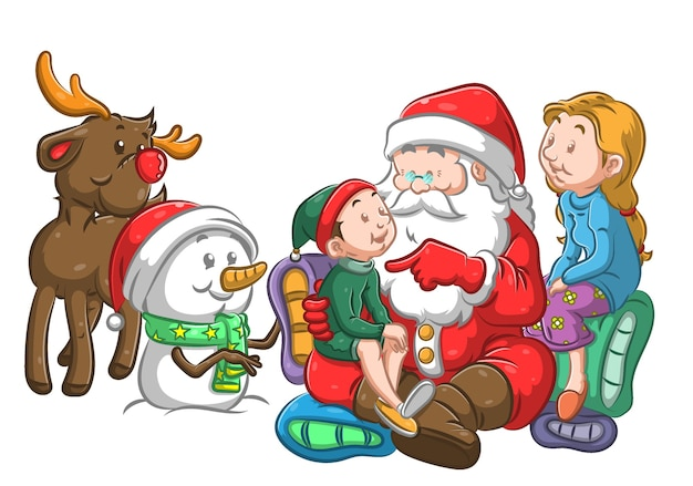 Der weihnachtsmann und die kinder unterhalten sich, bevor er das geschenk gibt