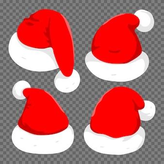 Der weihnachtsmannhutkarikatursatz lokalisiert auf einem transparenten hintergrund.