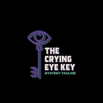 Der weinende augenschlüssel. abstrakte vektorzeichen-, symbol- oder logo-schablone.
