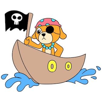 Der welpe spielt die rolle eines piraten, der eine schädelflagge auf einem holzboot trägt, vektorgrafiken. doodle symbolbild kawaii.
