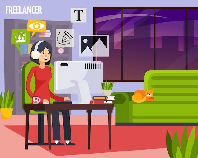 Der werbeagenturfreiberufler, der nach hause orthogonale zusammensetzung mit mädchen hinter dem desktop erstellt anzeigenplan bearbeitet, entwirft illustration