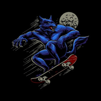 Der werwolf mit skateboard-illustration