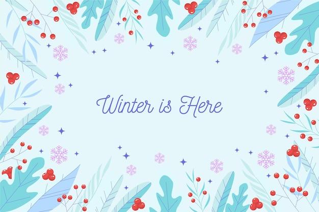 Der winter ist hier schriftzug hintergrund