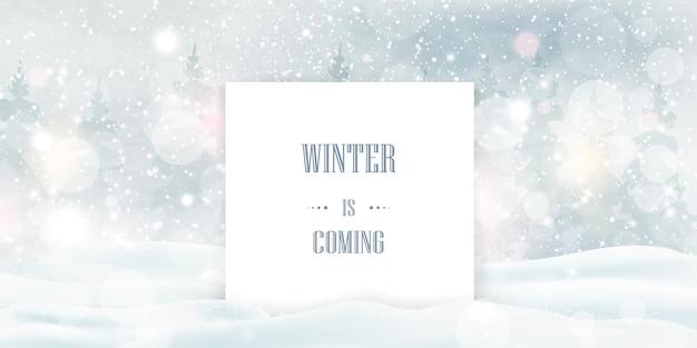 Der winter kommt, text über starkem schneefall, schneeflocken in verschiedenen formen und formen, schneeverwehungen. winterlandschaft mit fallendem schnee.