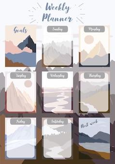 Der wochenplaner beginnt am sonntag mit einer berg-, sonnen- und aufgabenliste, die für vertikales digitales und bedruckbares a4 a5-format verwendet wird