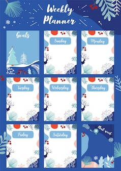 Der wochenplaner beginnt am sonntag mit winter und blumen, to-do-liste, die für vertikales digitales und druckbares a4 a5-format verwendet wird