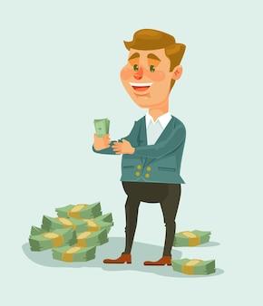 Der wohlhabende geschäftsmanncharakter zählt flache karikaturillustration des geldes