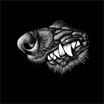 Der wolf für tattoo oder t-shirt design oder outwear. diese handzeichnung wäre schön auf dem schwarzen stoff oder der leinwand zu machen.