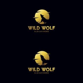 Der wolf heult zum mondlogo