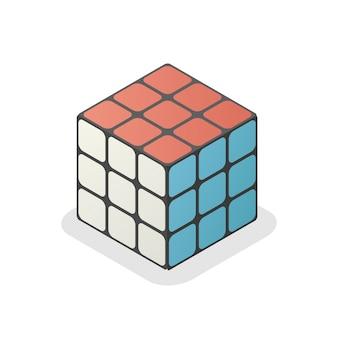 Der würfelvektor der isometrischen rubik 3d lokalisierte illustration