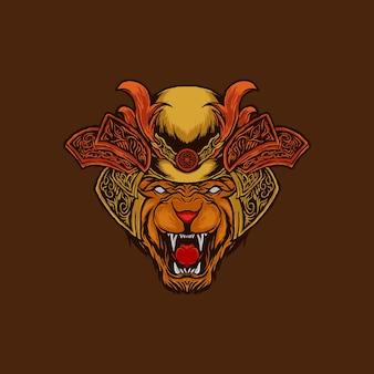 Der wütende löwenkopf mit gepanzertem kopf