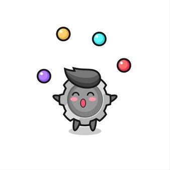 Der zahnradzirkus-cartoon, der mit einem ball jongliert, niedliches design für t-shirt, aufkleber, logo-element