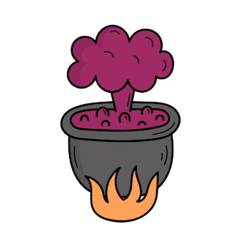 Der zaubertrank wird in einem kessel gebraut. mystiker. halloween. illustration im doodle-stil