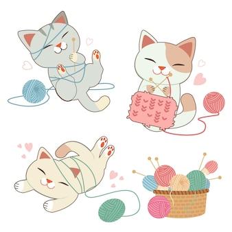 Der zeichensatz der niedlichen katze, die mit dem garnball und korb im flachen stil spielt.