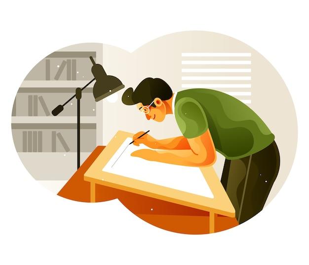 Der zeichner arbeitet an einem zeichenbrett