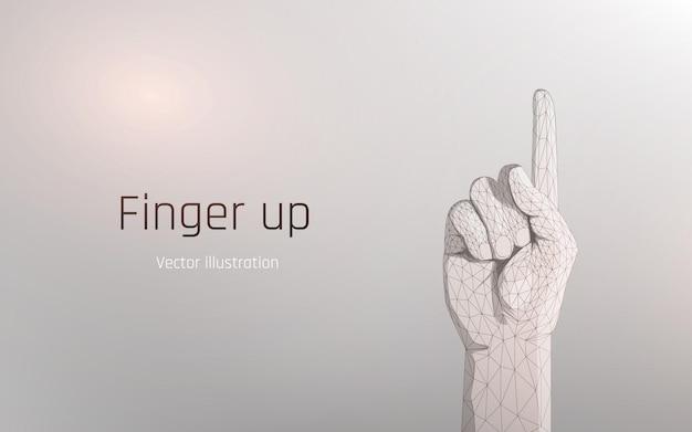 Der zeigefinger der hand zeigt nach oben