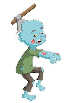 Der zombiejunge mit der axt auf dem kopf der illustration