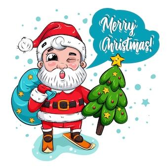 Der zwinkernde lustige weihnachtsmann trägt tasche und weihnachtsbaum vom verschneiten wald. weihnachtskarte. weihnachtsfigur.