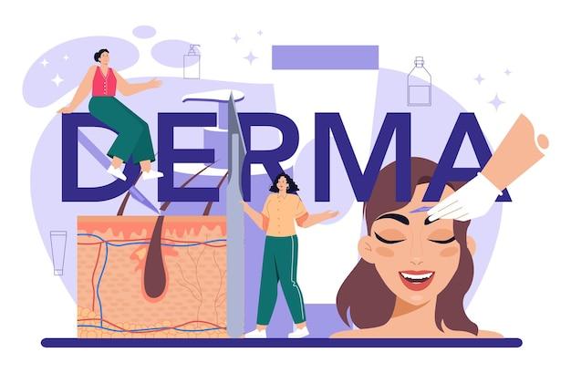 Derma-prozedur typografischer header kosmetik gesichtsrasur