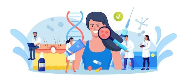 Dermatologie. frauengesicht mit akne, varizellen, allergien oder krebs. winzige ärzte mit medizinischen geräten, die rote flecken, pickel untersuchen. dermatologe diagnose hautkrankheit