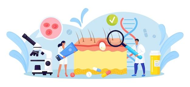 Dermatologie. haut-epidermis-schema mit akne-entzündung, varizellen, allergien oder krebs. ärzte mit medizinischer ausrüstung, die rote flecken, pickel untersuchen. dermatologe diagnose hautkrankheit