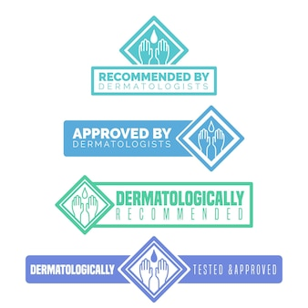 Dermatologisch getestetes geschäftslogo und schriftart