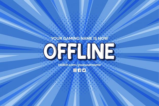Derzeit offline-banner mit comic-zoom-hintergrund-vektor-vorlage