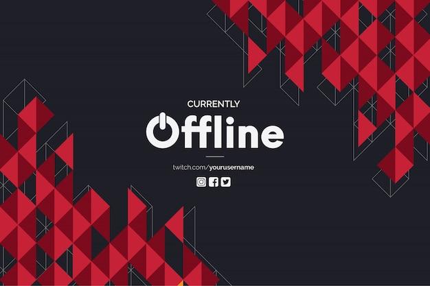 Derzeit offline-banner mit polygonalen roten formen vektor-vorlage