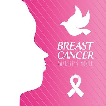Des weltbrustkrebs-bewusstseinsmonats mit profilfrau und taube fliegen
