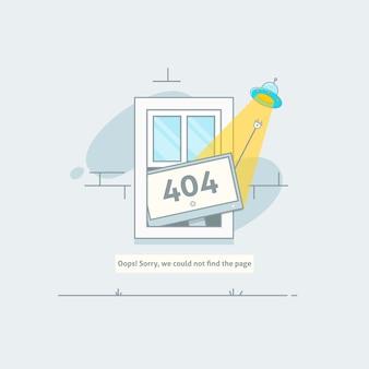 Design 404 fehler. seite ist verloren und nachricht nicht gefunden. vorlage für webseite mit fehler 404. modernes liniendesign.