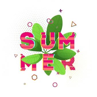 Design-banner mit rosa sommertext. glitch textur text mit pflanzendekoration. vorlage jahreszeitenplakat mit grünem blatt und geometrischer form auf weißem hintergrund. .