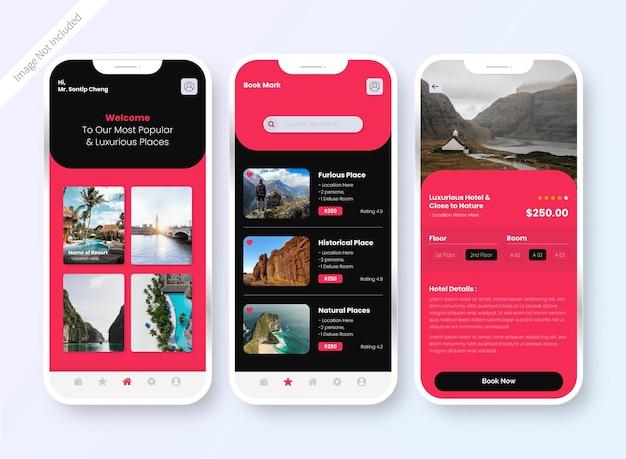 Design-bildschirm der benutzeroberfläche der hotelbuchungs-app