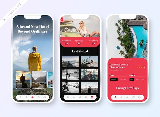 Design-bildschirm der benutzeroberfläche der hotelbuchungs-app Premium Vektoren