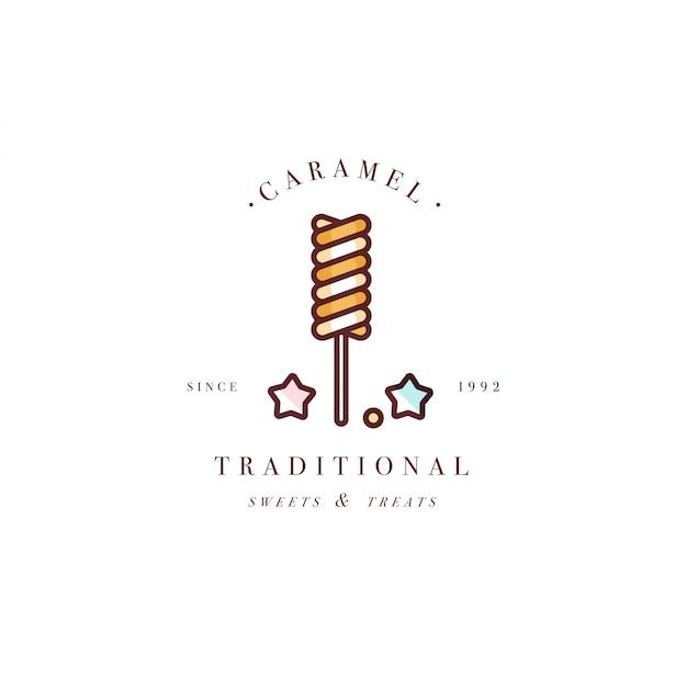Design bunte vorlage logo oder emblem - lutscher mit streuseln karamell süßigkeiten. süßes symbol. logos im trendigen linearen stil lokalisiert auf weißem hintergrund.