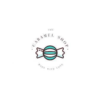 Design bunte vorlage logo oder emblem - streusel karamell süßigkeiten. süßes symbol. logos im trendigen linearen stil lokalisiert auf weißem hintergrund.