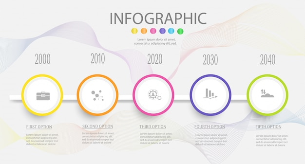 Design business vorlage 5 schritte infografik diagrammelement.