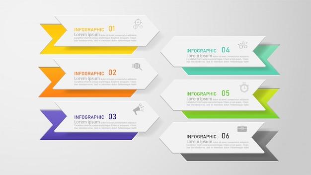 Design business vorlage 6 optionen infografik für präsentationen.
