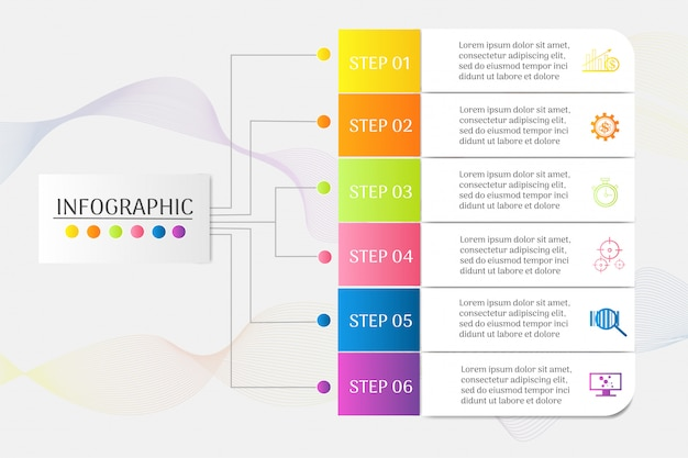 Design business vorlage 6 schritte infografik diagrammelement.