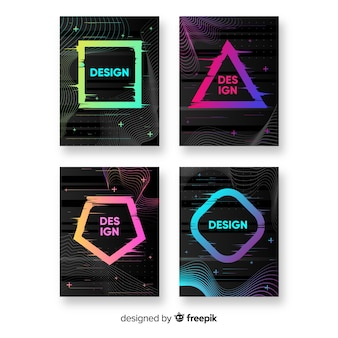 Design-cover mit buntem glitch-effekt