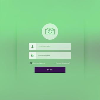 Design der anmeldeseite des grünen themas