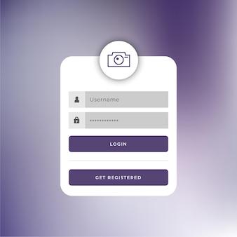 Design der anmeldevorlage für webbenutzer