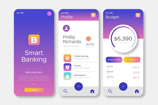 Design der banking-app-oberfläche