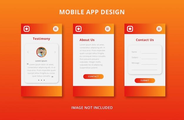 Design der benutzeroberfläche der mobilen app mit orangefarbenem farbverlauf