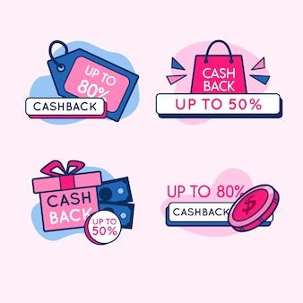Design der cashback-etikettenkollektion