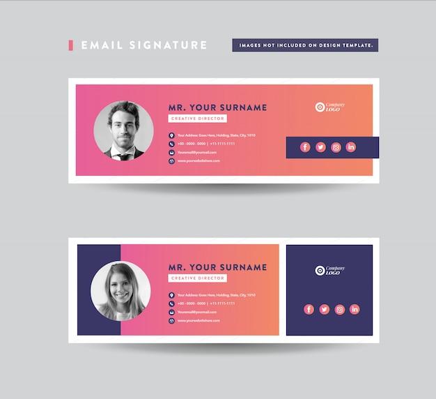 Design der e-mail-signaturvorlage | e-mail-fußzeile | persönliches social media cover