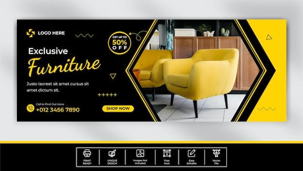 Design der facebook-cover-vorlage für den möbelverkauf